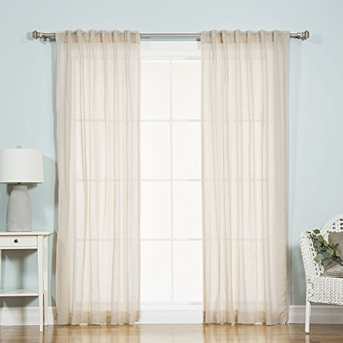 Best Home Fashion Faux Pippin Linen Sheer curtain - Back Tab/ Rod Pocket - Ivory - 52