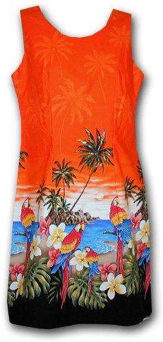 Tropical Tank Dress - Hawaiian Sun Dresses Beach Parrot Dress Orange 2XL