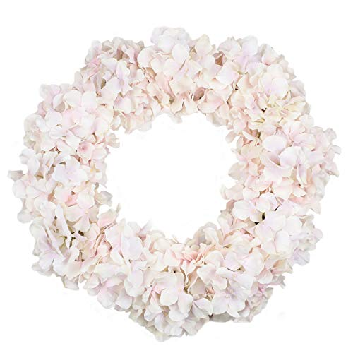 Homcomoda Artificial Flower Wreath 20 Inch Fake Silk Hydrangea Garland Front Door Wreath for Home Wedding Party Decoration (Pink) ()
