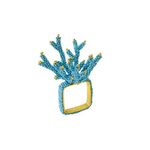 Kim Seybert Coral Branch Napkin Ring In Turquoise, Set of 4 Coral Branch Napkin Rings