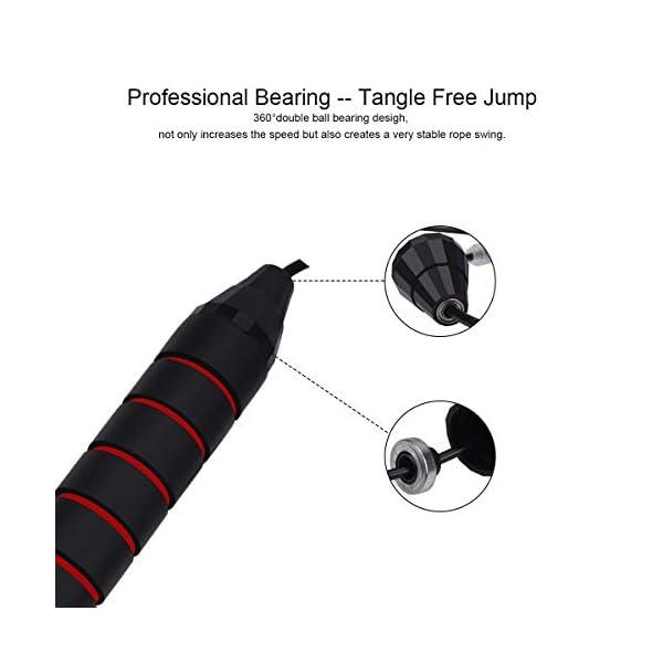BACKTURE Corde à Sauter, 2.8M Speed Rope avec 180g Amovible Professionnelle Pondérée, Roulements à Billes en Acier…