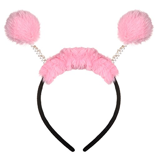 (Lux Accessories Pink Furry Fuzzy Bopper Headband Halloween Hair)