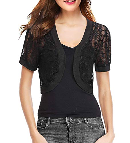 Short Lace Bolero Shrug for Women Dress Summer (Black,XXL) -