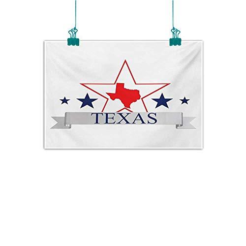 Abstract Painting Texas Star San Antonio Dallas Houston Austin Map with Stars Pattern USA Decorations Home Decor W20 xL16 Navy Blue Vermilion Pale - San Antonio Sectional