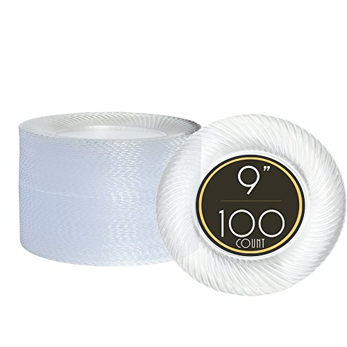 100 Steep Clear Plastic Plates for Dinner Party or Wedding - 9 Inch Fancy Disposable Plastics Plates
