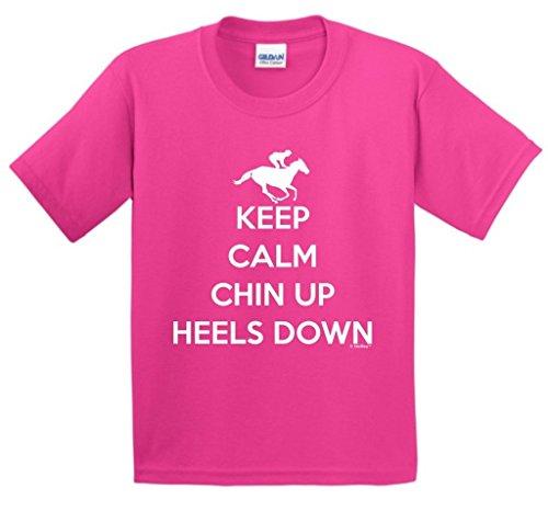 ThisWear Horseback Riding Gear Keep Calm Chin Heels Down Horseback Riding Youth T-Shirt Large Hlcna