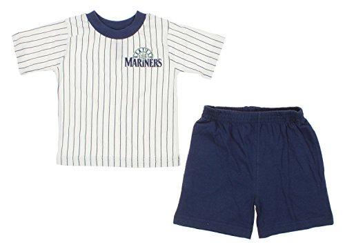 Seattle Mariners MLB Baby Boys Infant Pinstripes Shirt and Shorts Set, White-Navy (12 ()
