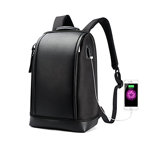 Bopai Business 15.6 inch Laptop Backpack Invisible Water Bottle Pocket Anti-theft Laptop Rucksack USB Charging Port and Anti-explosion Zipper Water Resistant Travel Anti-thief Men Backpack, Black ()