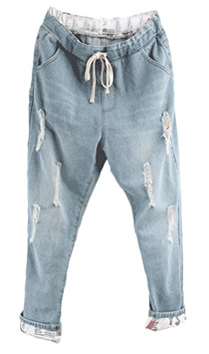 Women's Light Washed Harem Loose Ripped Jeans (Blue) - 1