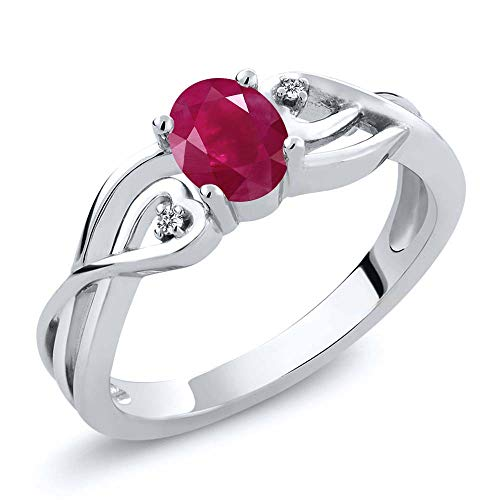 Gem Stone King 925 Sterling Silver Red Ruby and White Diamond Ring 0.61 Ct Oval Gemstone Birthstone (Size 5)