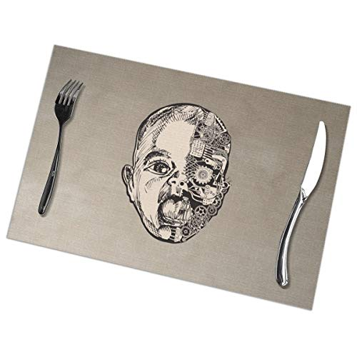 (GGlooking Heat-Resistant Placemats Robot Face Dining Table Mats Washable Coasters Kitchen Pad Cup Plant Set of 6,12x18in)