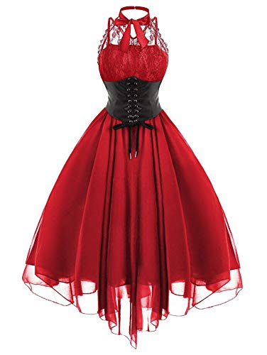 (Dress Mujer Party Dress Gothic Black Cross Back Lace Panel Bow Corset Dresses Robe Woman Clothess,Red,M)