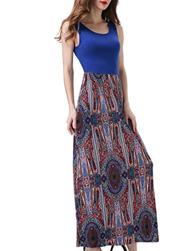 Aphratti Women's Bohemian Sleeveless Maxi Long Dress with Elastic Waistband Small Blue Print