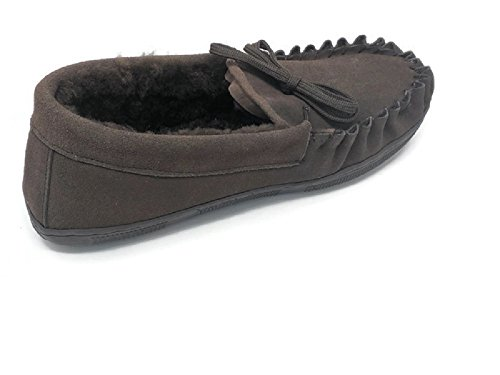 Mens Suede Genuine Sheepskin Moccasin Slippers Loafers Shoes (Coffee, Large)