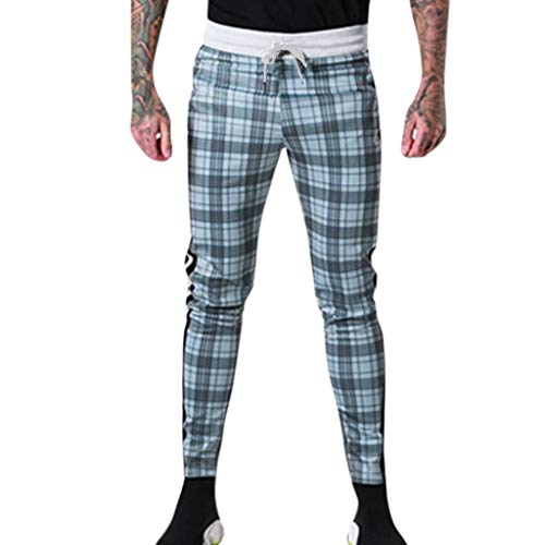 Aleola Men Casual Sport Plaid Print Drawstring Elastic Waist Long Pant Trousers (XL)