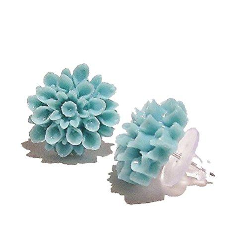 Boucles D'oreilles de Clou - Fleurs de Résine - Vert de Menthe