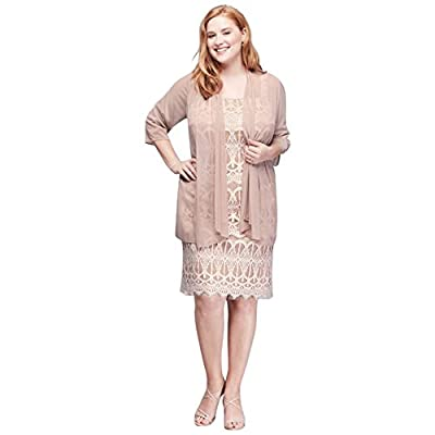 David's Bridal Plus Size Applique Lace Petite Mother Of Bride/Groom Dress With Sheer Jacket.