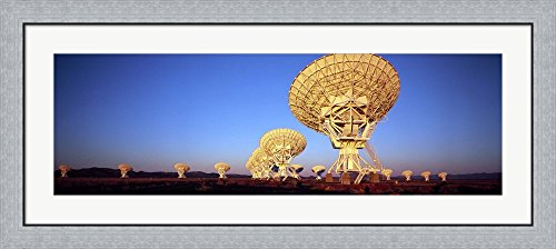 Radio Telescopes in a field, Very Large Array, National Radio Astronomy Observatory, Magdalena, New Mexico, USA by Panoramic Images Framed Art Print Wall Picture, Flat Silver Frame, 44 x 20 inches Very Large Array Telescope