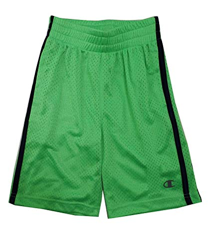 Champion Boys Authentic Athletic Mesh Shorts in Neon Green/Light Navy, 14/16
