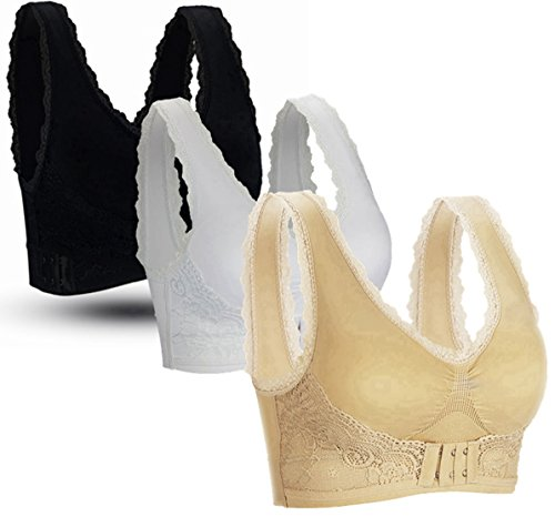 BRABIC Sports Bras Lace Trim Side Buckle Padded Bralettes High Impact Pack of 3 (L(36A 36B 36C 36D 38A 38B), BlackWhiteBeige)
