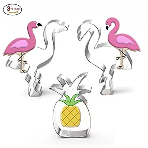 Tropical Cookie Cutter Set-3 Piece-1 Pcs Pineapple & 2 Pcs Love Flamingo, Party Supplies Handmade Cookie Molds.