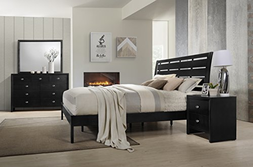 Roundhill Furniture Gloria Black Finish Wood Bed Room Set, Queen Bed, Dresser, Mirror, Night Stand ()