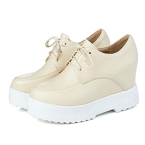 Amoonyfashion Donna Pu Tacchi Alti Tondi Punta Chiusa Scarpe Stringate-scarpe Albicocca