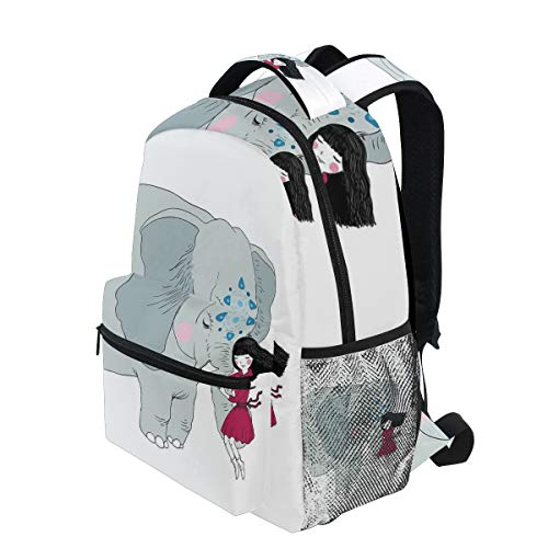 KVMV Little Girl Sitting On The Trunk of an Elephant with Simple Mandala Motif Blue Lightweight School Backpack Students College Bag Travel Hiking Camping Bags