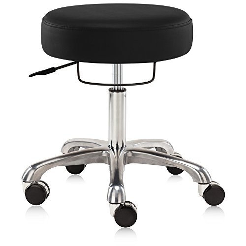 Dr.lomilomi Extra-wide Seat Hydraulic Rolling Swivel Stool Chair with Memory Foam 502 (Black)