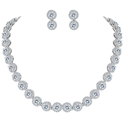 EVER FAITH Round Cubic Zirconia December Birthstone Row Bridal Necklace Earrings Set Clear -