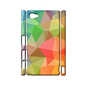 Geometric Shapes Stitching Background Printed Phone Case Snap on Sony Xperia Z5 Compact,Graceful Perfect Durable 3D Hard Plastic Cover Fit Sony Xperia Z5 Compact