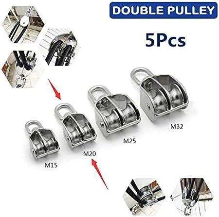 1 polea de acero inoxidable para levantamiento de cuerda Rodillo doble de polea giratoria plateado SENRISE M15