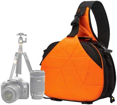 WTYD カメラアクセサリー トライアングルシェイプトスコープスリングショルダークロスデジタルカメラバッグケースCanon Nikon Sonyのレインカバー付きソフトバッグサイズ:33 * 24 * 17cm カメラ用 (Color : オレンジ)