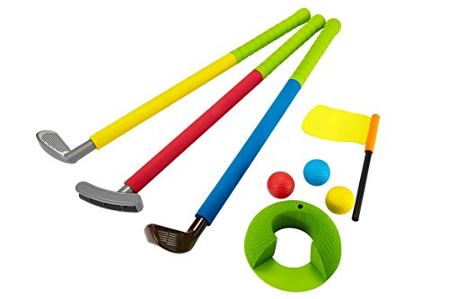 Uarzt Soft Foam Glof Sets Toys for Kids Childrens Toddler Indoor/Outdoor,Easy hit Golf Clubs Set/3 Balls,4 Types of Clubs,1 Hole and Golf Flag (Glof Sets) ()