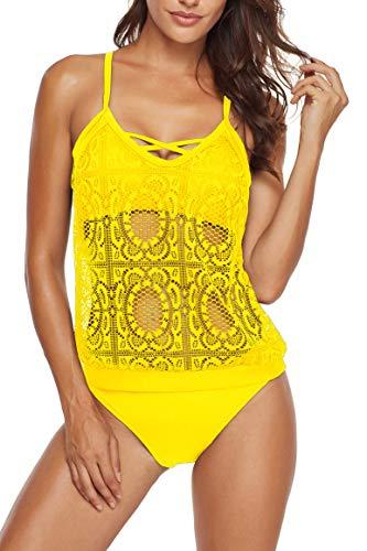 (SelfieGo Women's Swimsuits Two Piece Bathing Suit Halter Printed Lace Mesh Tankini Set Ladies Swimwear (Yellow Small))