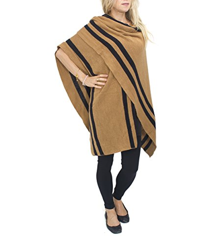 Jessica McClintock Striped Knit Cape Ruana Wrap Shawl Pashmina Poncho (Camel/Black)