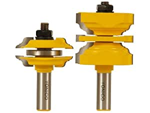 Yonico 12246 Entry Door Router Bit Set With Interior Exterior Ogee Bead 1 2 Inch Shank