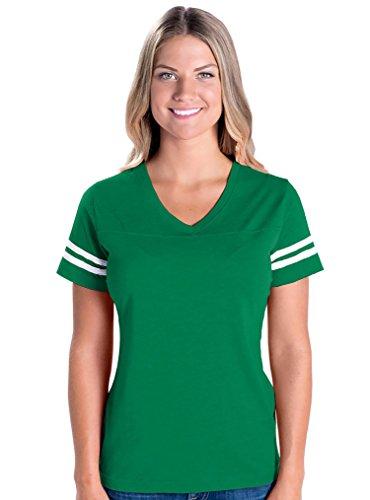 LAT Apparel Ladies Football Jersey V-Neck Tee [Large] Vintage Green / White Short SleeveT-Shirt - Green Vintage Tee