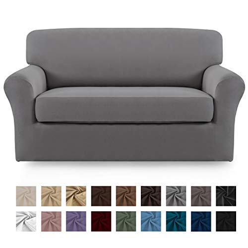 Easy-Going 2 Pieces Microfiber Stretch Couch Slipcover - Spandex Soft Fitted Sofa Couch Cover, Washable Furniture Protector with Elastic Bottom Kids,Pet (Loveseat, Light Gray)