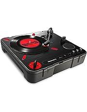 Numark PT01 Scratch - Draagbare DJ-draaitafel voor portablists met vervangbare scratch-schakelaar, ingebouwde luidspreker, voeding via batterij of adapter, toerentalkeuze en USB-connectiviteit, zwart