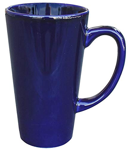 - ITI Ceramic Tall Funnel Cup Coffee Mugs with Pan Scraper, 16 Ounce (4-Pack, Cobalt Blue)
