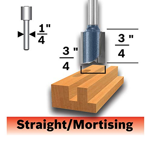 Bosch 85232MC 3/4 In. x 3/4 In. Carbide-Tipped Double-Flute Straight Router Bit