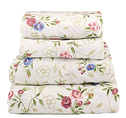 Beautiful Super Soft Egyptian Comfort 100% Microfiber 6 pcs Sheet Set Small Pink Blue Floral on Cream (Queen) (Cream Floral Pink)