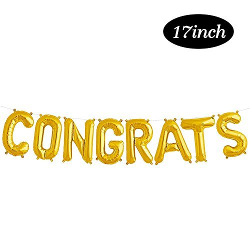 Congrats Gold Balloon Banner | 2019 Graduation Foil Balloon Decorations | Mylar Balloons for Birthday,, Anniversary, Wedding | Large Size, 17inch ()