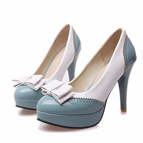 Bow Round Dress Womens Blue High toe Pumps Shoes Cute Platform Latasa heel EYBqAxqw