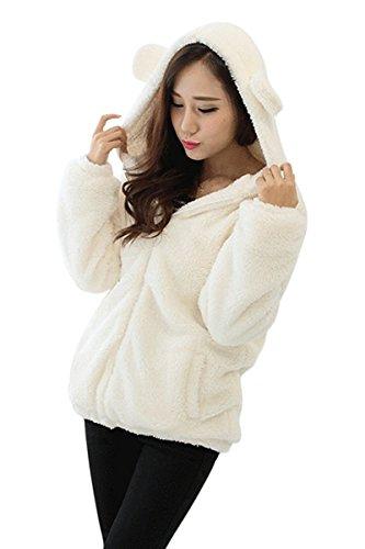 Bear Fleece Jacket - Landove Girls Cute Warm Teddy Bear Hood Coat Ear Pocket Fleece Jacket Sweatshirt Sweater, White, One Size