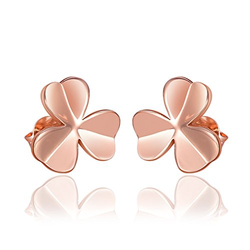 Price comparison product image Duo La Elegant Happiness Grass 18k Rose Gold Plated Lady Charm Stud Earrings