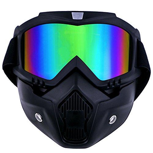 TedGem Mortorcycle Masque de protection amovible et filtre pour casque ouvert, motocross, ski, snowboard, motocross, off-road