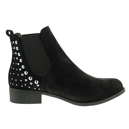 Booty Fashion Cavalier Heel 3 Boots Boots Shoes cm Chelsea Angkorly Block Black Ankle Studded Women's 8XTwqxTp5
