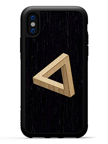 Carved | iPhone X | Luxury Protective Traveler Case | Unique Real Wooden Phone Cover | Rubber Bumper | Penrose Triangle Inlay